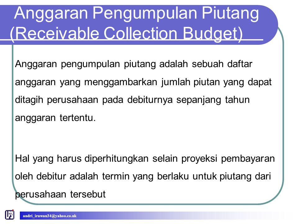Anggaran Pengumpulan Piutang (Receivable Collection Budget) Anggaran pengumpulan piutang adalah sebuah daftar anggaran yang menggambarkan jumlah piutan yang dapat ditagih perusahaan pada debiturnya sepanjang tahun anggaran tertentu.