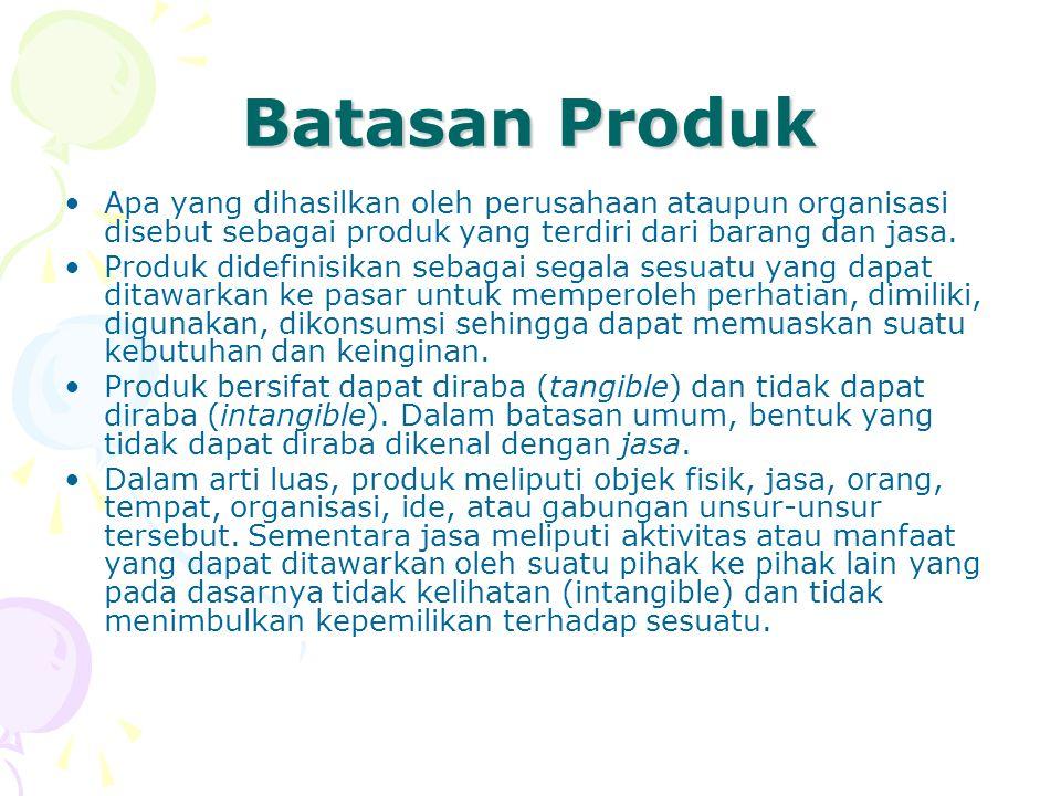 Batasan Produk •Apa yang dihasilkan oleh perusahaan ataupun organisasi disebut sebagai produk yang terdiri dari barang dan jasa. •Produk didefinisikan