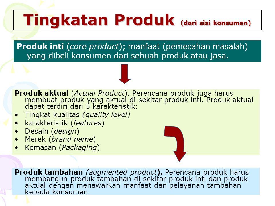 Tingkatan Produk (dari sisi konsumen) Produk inti (core product); manfaat (pemecahan masalah) yang dibeli konsumen dari sebuah produk atau jasa. Produ