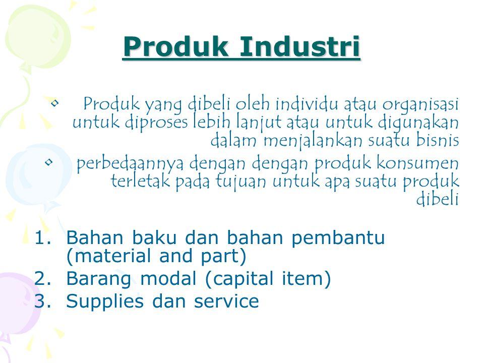 Produk Industri •Produk yang dibeli oleh individu atau organisasi untuk diproses lebih lanjut atau untuk digunakan dalam menjalankan suatu bisnis •per