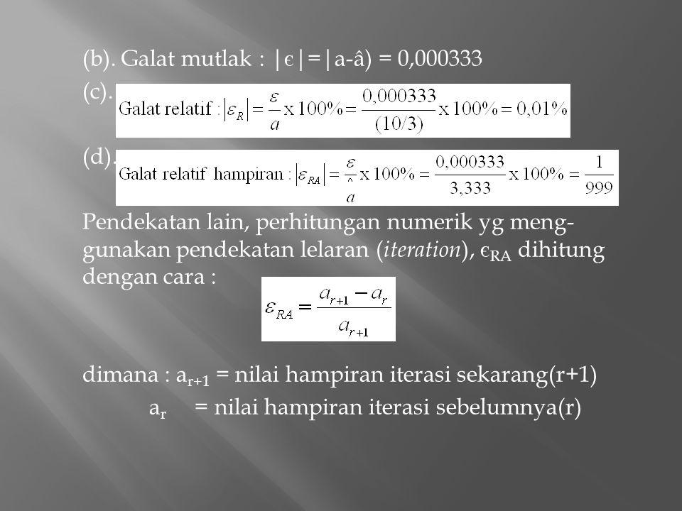 (b). Galat mutlak : | є |=|a-â) = 0,000333 (c). (d). Pendekatan lain, perhitungan numerik yg meng- gunakan pendekatan lelaran ( iteration ), є RA dihi