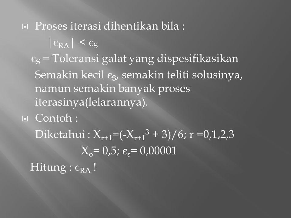  Proses iterasi dihentikan bila : | є RA | < є S є S = Toleransi galat yang dispesifikasikan Semakin kecil є S, semakin teliti solusinya, namun semak