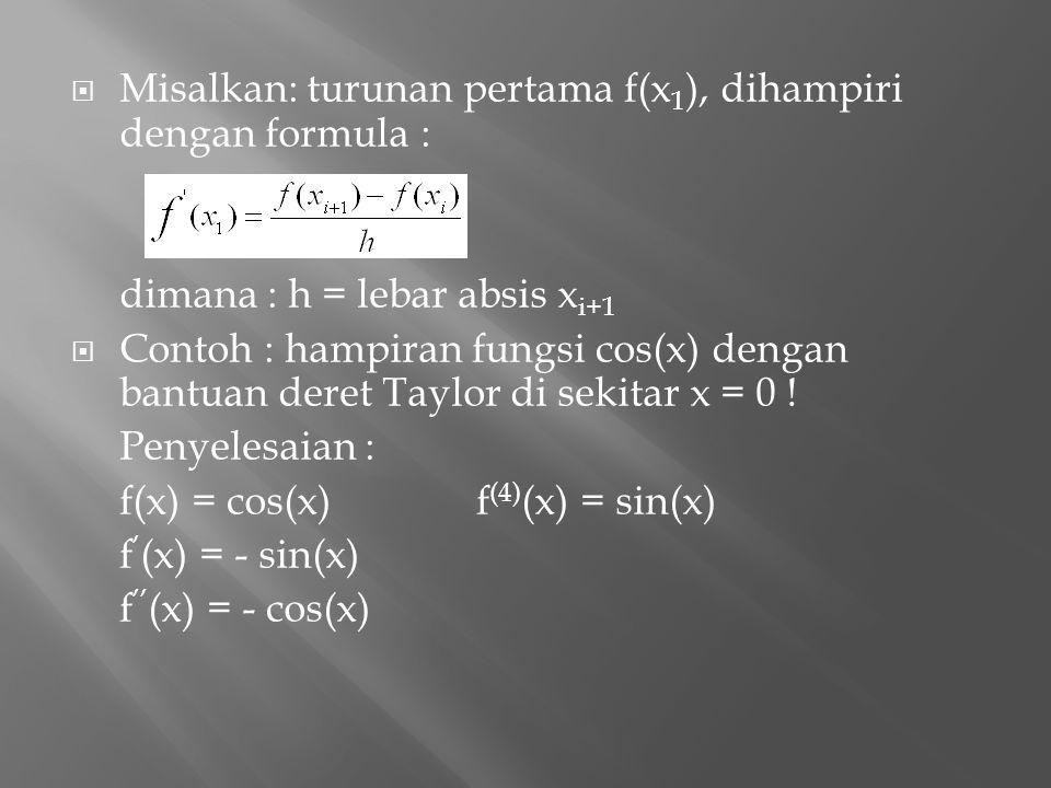  Misalkan: turunan pertama f(x 1 ), dihampiri dengan formula : dimana : h = lebar absis x i+1  Contoh : hampiran fungsi cos(x) dengan bantuan deret
