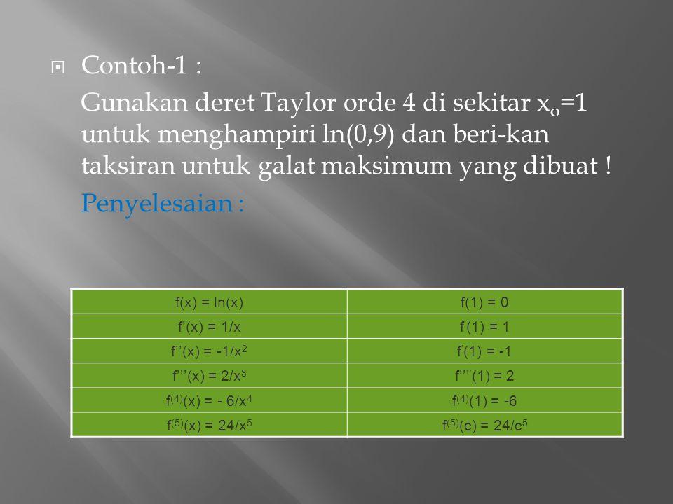  Contoh-1 : Gunakan deret Taylor orde 4 di sekitar x o =1 untuk menghampiri ln(0,9) dan beri-kan taksiran untuk galat maksimum yang dibuat ! Penyeles