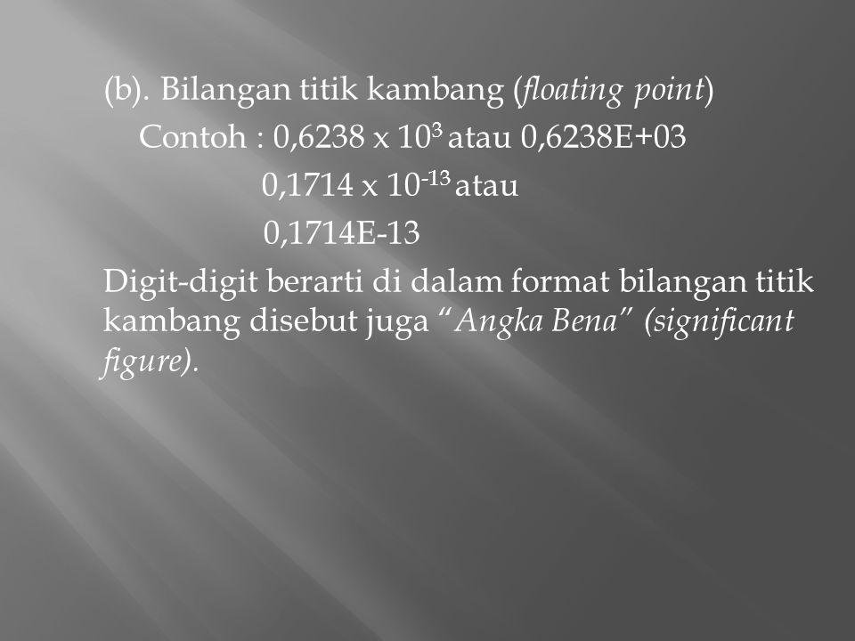 (b). Bilangan titik kambang ( floating point ) Contoh : 0,6238 x 10 3 atau 0,6238E+03 0,1714 x 10 -13 atau 0,1714E-13 Digit-digit berarti di dalam for