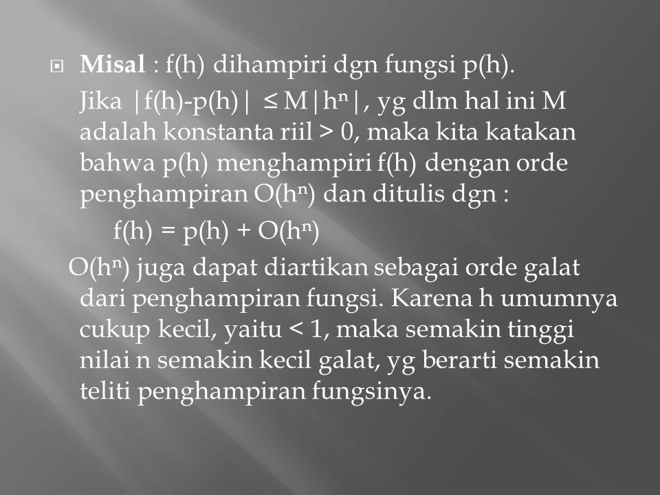  Misal : f(h) dihampiri dgn fungsi p(h). Jika |f(h)-p(h)| ≤ M|h n |, yg dlm hal ini M adalah konstanta riil > 0, maka kita katakan bahwa p(h) mengham
