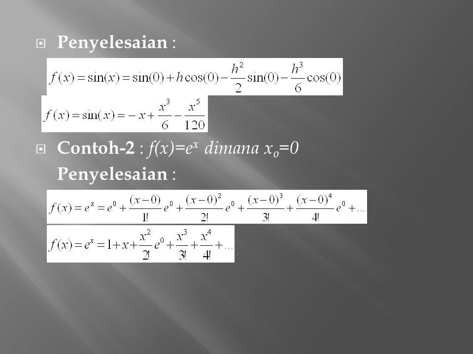  Penyelesaian :  Contoh-2 : f(x)=e x dimana x o =0 Penyelesaian :