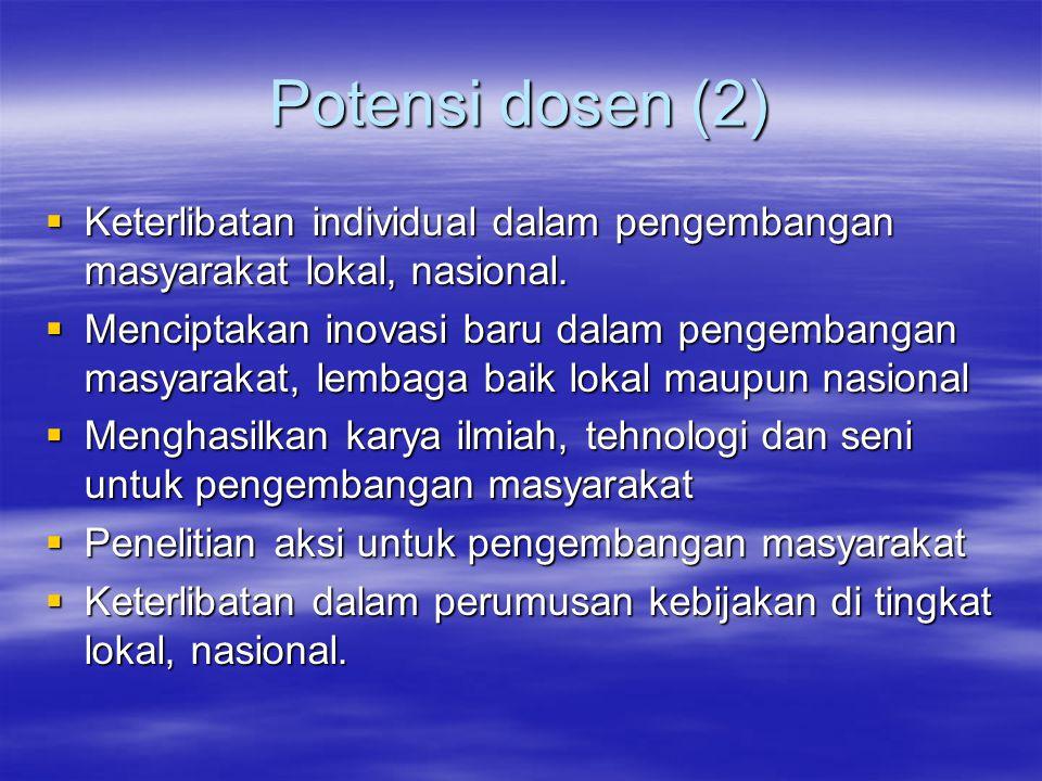 Potensi dosen (2)  Keterlibatan individual dalam pengembangan masyarakat lokal, nasional.