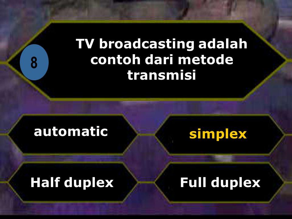 Di 8 TV broadcasting adalah contoh dari metode transmisi automatic Full duplex simplex Half duplex