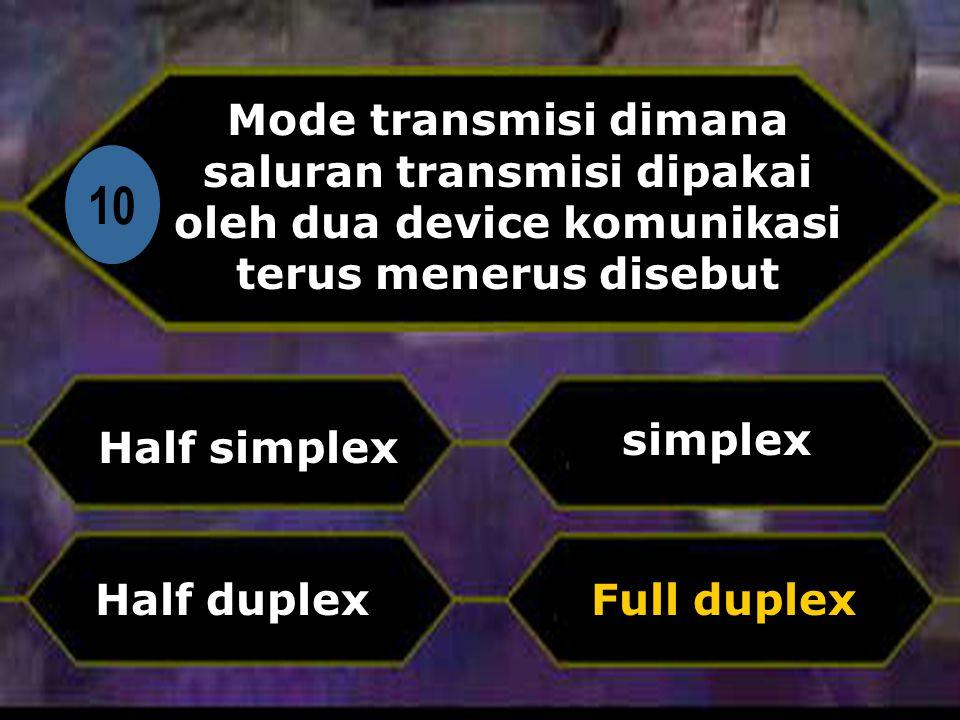 Di 10 Mode transmisi dimana saluran transmisi dipakai oleh dua device komunikasi terus menerus disebut Half simplex Full duplex simplex Half duplex