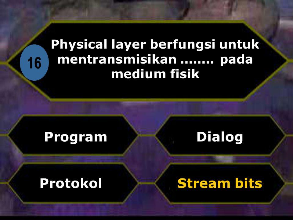 Di 16 Physical layer berfungsi untuk mentransmisikan........