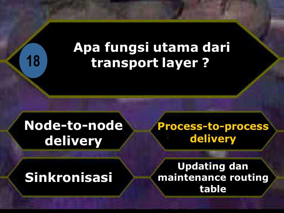 Di 18 Apa fungsi utama dari transport layer .
