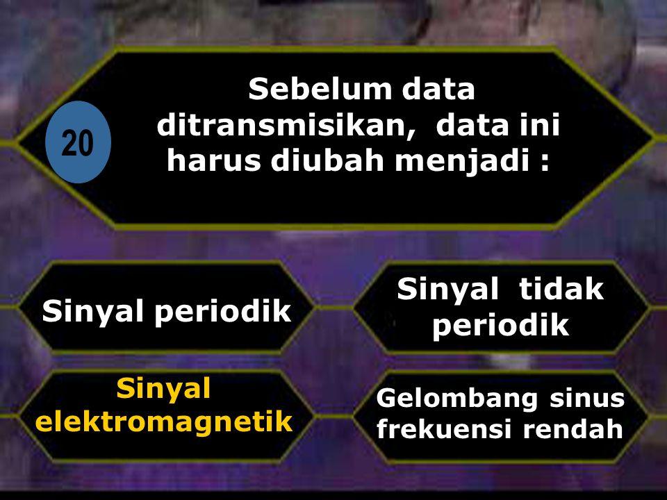 Di 20 Sebelum data ditransmisikan, data ini harus diubah menjadi : Sinyal periodik Gelombang sinus frekuensi rendah Sinyal tidak periodik Sinyal elektromagnetik