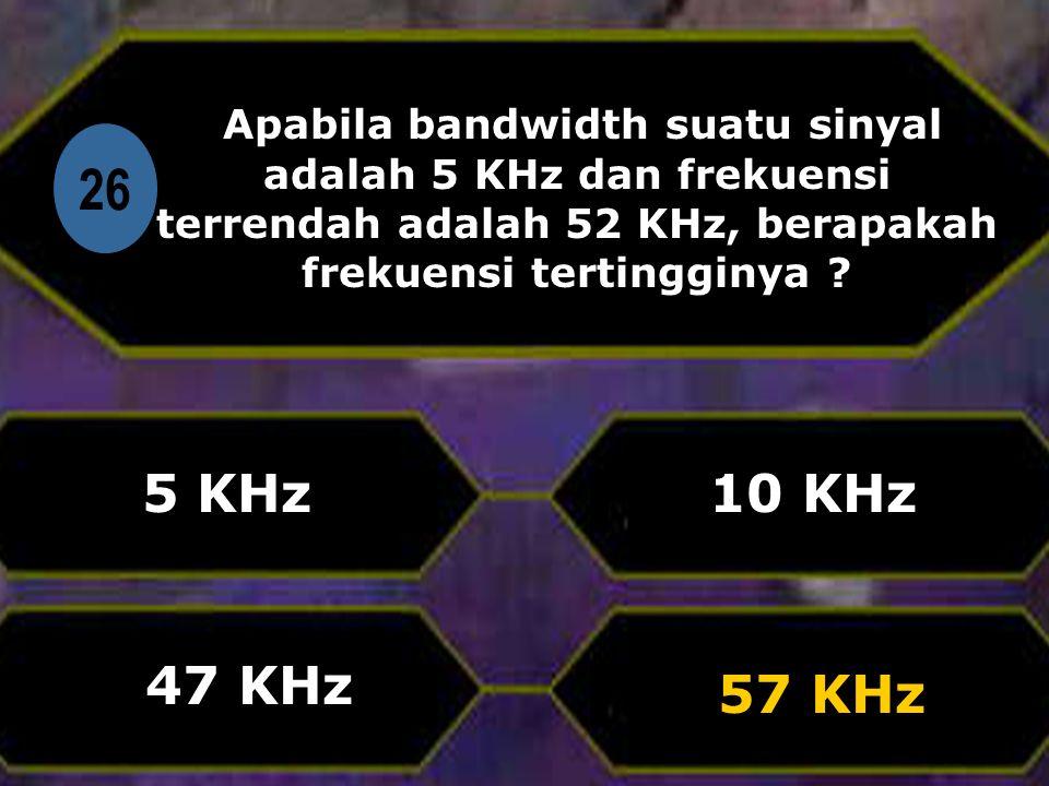 Di 26 Apabila bandwidth suatu sinyal adalah 5 KHz dan frekuensi terrendah adalah 52 KHz, berapakah frekuensi tertingginya .