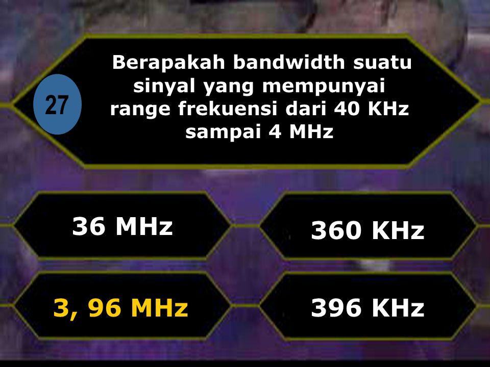 Di 27 Berapakah bandwidth suatu sinyal yang mempunyai range frekuensi dari 40 KHz sampai 4 MHz 36 MHz 396 KHz 360 KHz 3, 96 MHz
