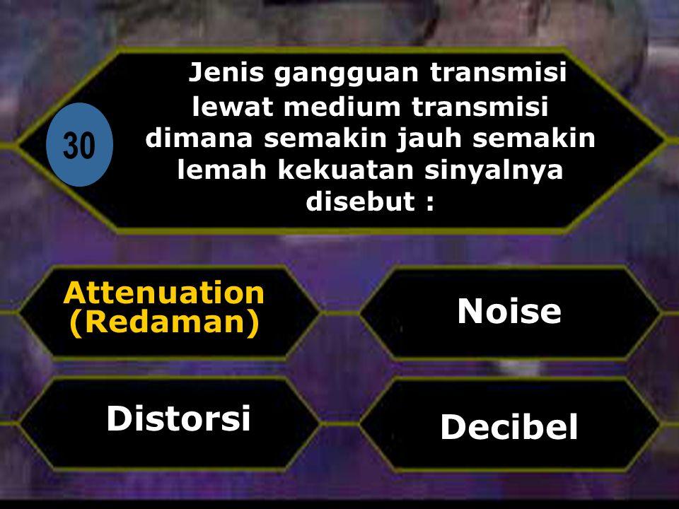 Di 30 Jenis gangguan transmisi lewat medium transmisi dimana semakin jauh semakin lemah kekuatan sinyalnya disebut : Attenuation (Redaman) Decibel Noise Distorsi