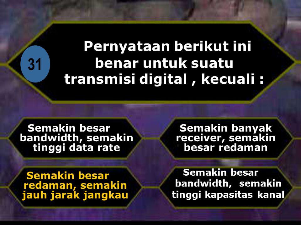 Di 31 Pernyataan berikut ini benar untuk suatu transmisi digital, kecuali : Semakin besar bandwidth, semakin tinggi data rate Semakin besar bandwidth, semakin tinggi kapasitas kanal Semakin banyak receiver, semakin besar redaman Semakin besar redaman, semakin jauh jarak jangkau