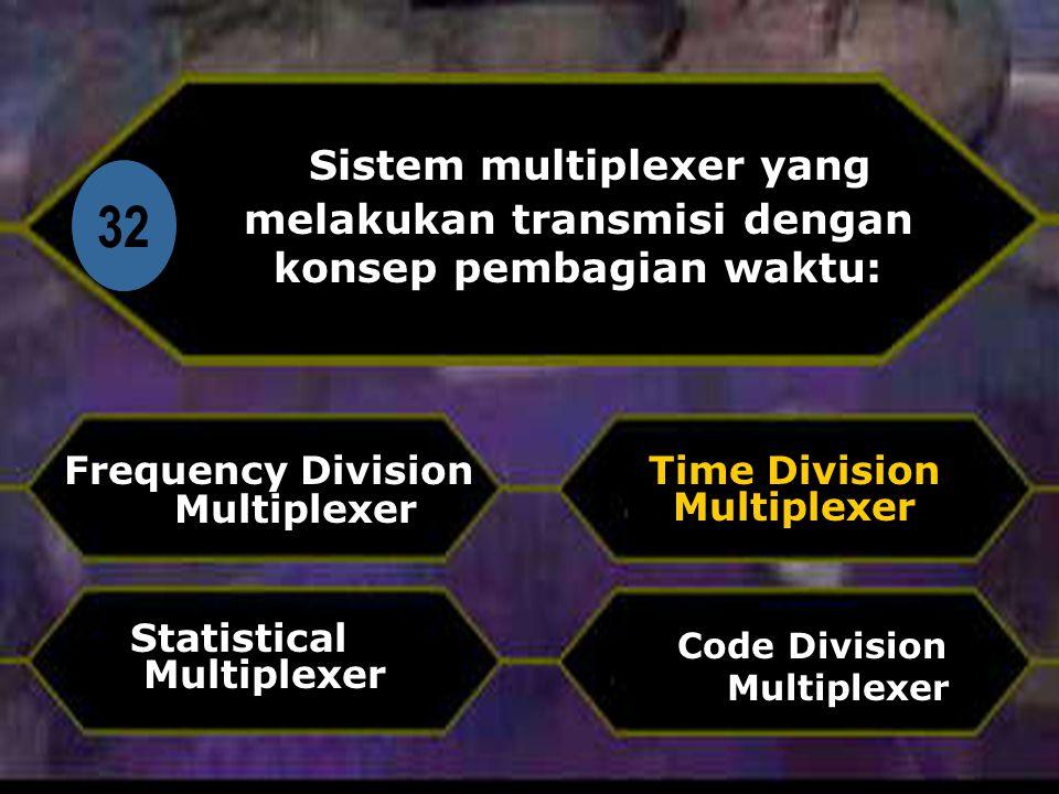Di 32 Sistem multiplexer yang melakukan transmisi dengan konsep pembagian waktu: Frequency Division Multiplexer Code Division Multiplexer Time Division Multiplexer Statistical Multiplexer
