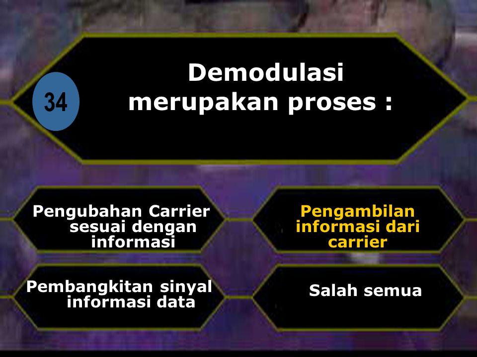Di 34 Demodulasi merupakan proses : Pengubahan Carrier sesuai dengan informasi Salah semua Pengambilan informasi dari carrier Pembangkitan sinyal informasi data