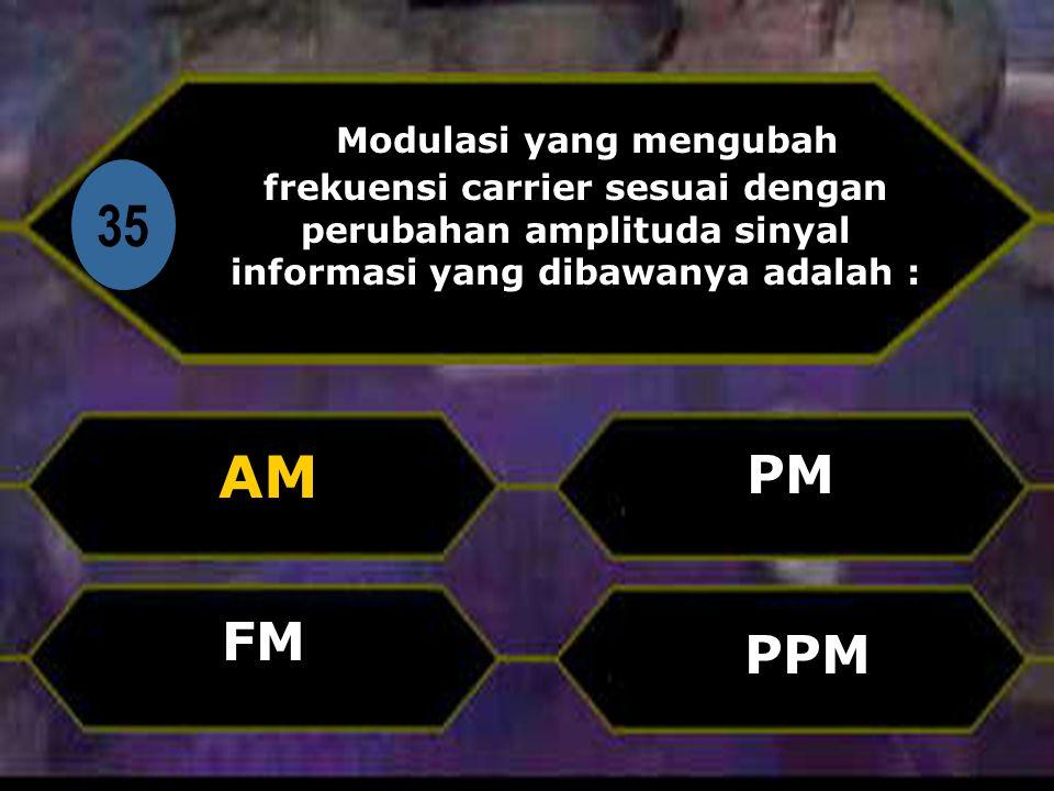 Di 35 Modulasi yang mengubah frekuensi carrier sesuai dengan perubahan amplituda sinyal informasi yang dibawanya adalah : AM PPM PM FM