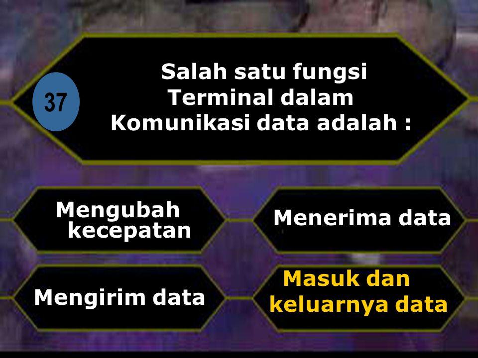 Di 37 Salah satu fungsi Terminal dalam Komunikasi data adalah : Mengubah kecepatan Masuk dan keluarnya data Menerima data Mengirim data