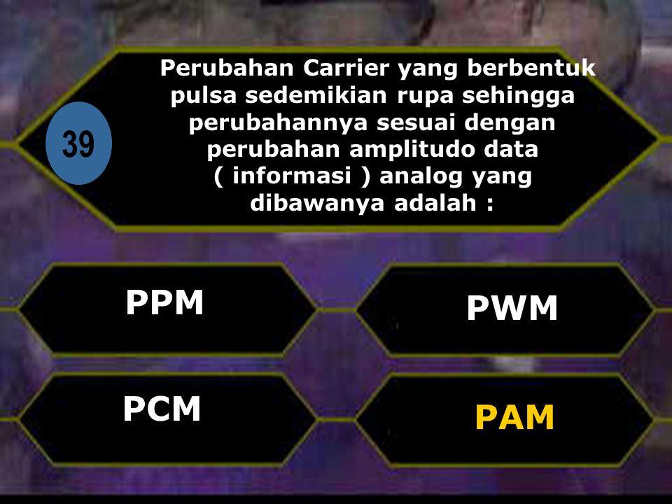 Di 39 Perubahan Carrier yang berbentuk pulsa sedemikian rupa sehingga perubahannya sesuai dengan perubahan amplitudo data ( informasi ) analog yang dibawanya adalah : PPM PAM PWM PCM