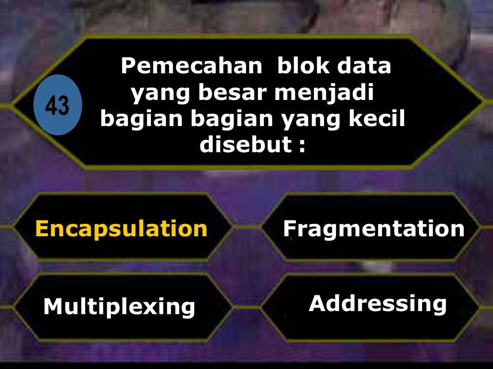 Di 43 Pemecahan blok data yang besar menjadi bagian bagian yang kecil disebut : Encapsulation Addressing Fragmentation Multiplexing