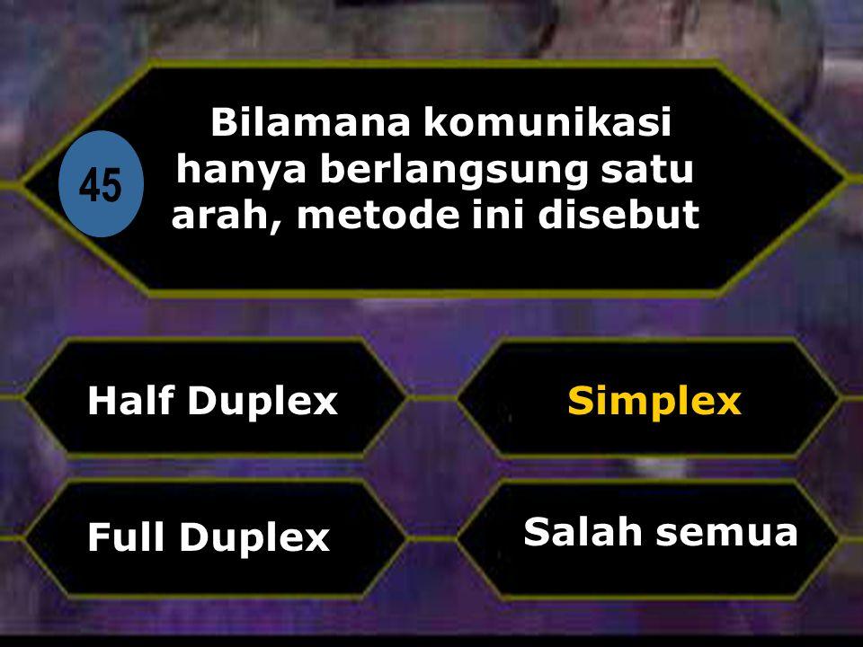 Di 45 Bilamana komunikasi hanya berlangsung satu arah, metode ini disebut Half Duplex Salah semua Simplex Full Duplex
