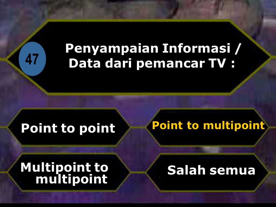 Di 47 Penyampaian Informasi / Data dari pemancar TV : Point to point Salah semua Point to multipoint Multipoint to multipoint