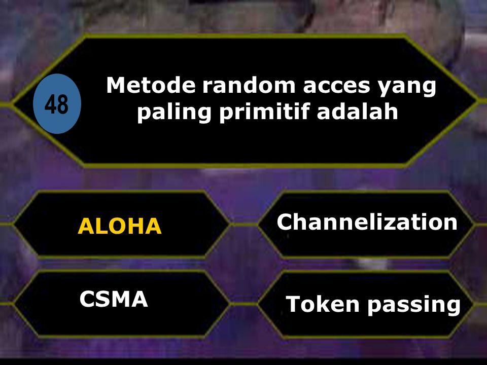 Di 48 Metode random acces yang paling primitif adalah ALOHA Token passing Channelization CSMA