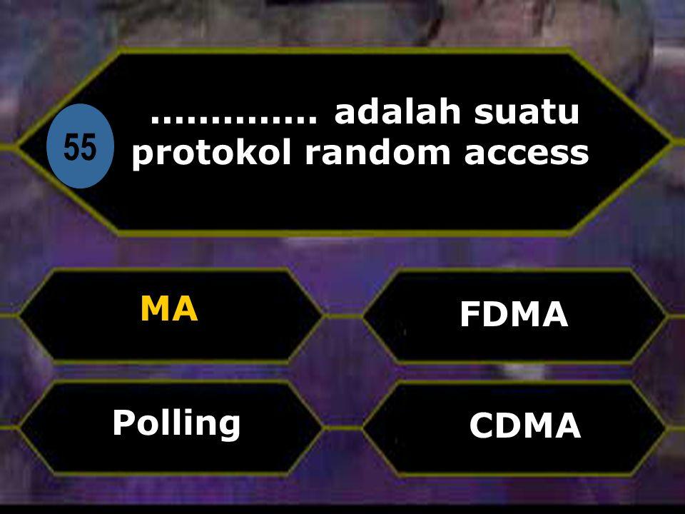 Di 55.............. adalah suatu protokol random access MA CDMA FDMA Polling
