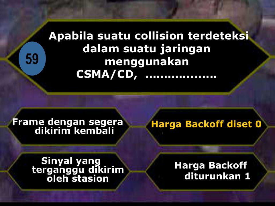 Di 59 Apabila suatu collision terdeteksi dalam suatu jaringan menggunakan CSMA/CD,...................