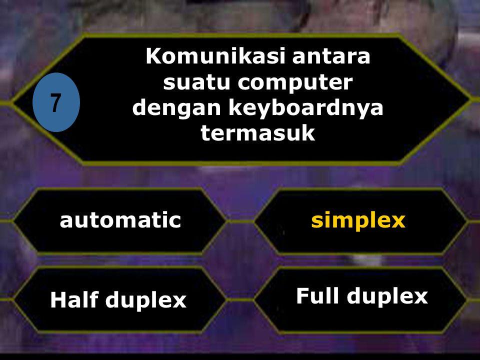 Di 7 Komunikasi antara suatu computer dengan keyboardnya termasuk automatic Full duplex simplex Half duplex