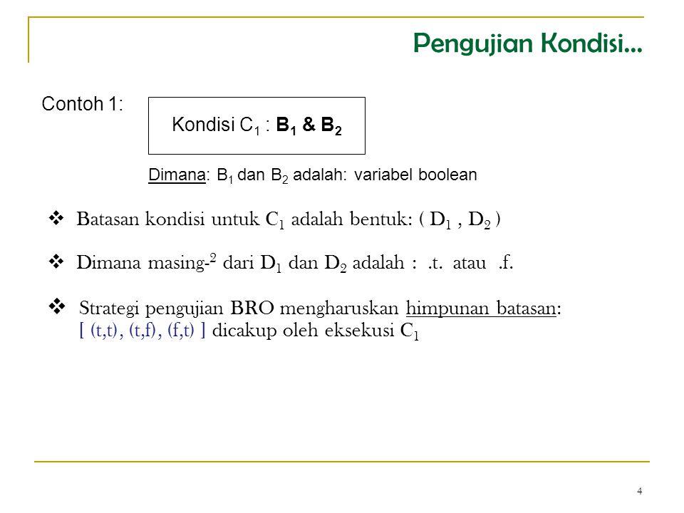 4 Contoh 1: Kondisi C 1 : B 1 & B 2  Batasan kondisi untuk C 1 adalah bentuk: ( D 1, D 2 )  Dimana masing- 2 dari D 1 dan D 2 adalah :.t.