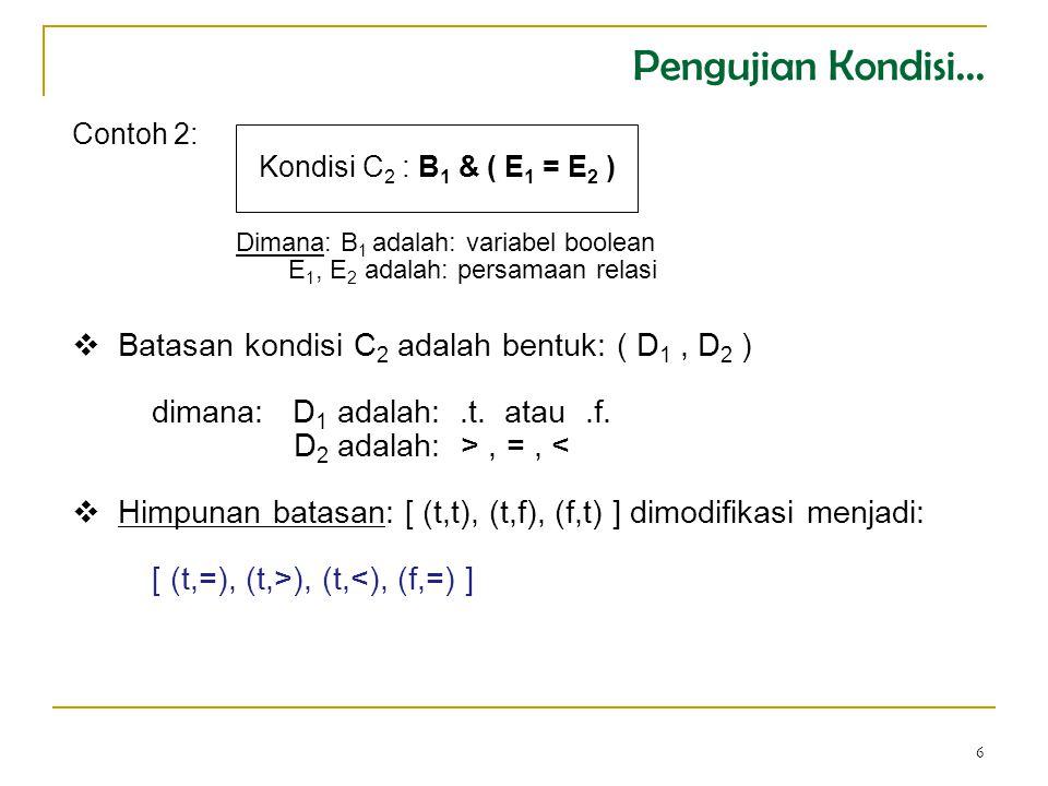 6 Contoh 2: Kondisi C 2 : B 1 & ( E 1 = E 2 )  Batasan kondisi C 2 adalah bentuk: ( D 1, D 2 ) dimana: D 1 adalah:.t.