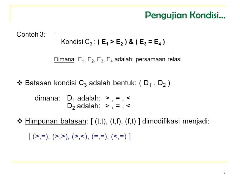 8 Contoh 3: Kondisi C 3 : ( E 1 > E 2 ) & ( E 3 = E 4 )  Batasan kondisi C 3 adalah bentuk: ( D 1, D 2 ) dimana: D 1 adalah: >, =, < D 2 adalah: >, =, <  Himpunan batasan: [ (t,t), (t,f), (f,t) ] dimodifikasi menjadi: [ (>,=), (>,>), (>,<), (=,=), (<,=) ] Dimana: E 1, E 2, E 3, E 4 adalah: persamaan relasi Pengujian Kondisi...