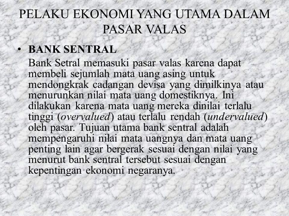 PELAKU EKONOMI YANG UTAMA DALAM PASAR VALAS • BANK SENTRAL Bank Setral memasuki pasar valas karena dapat membeli sejumlah mata uang asing untuk mendon