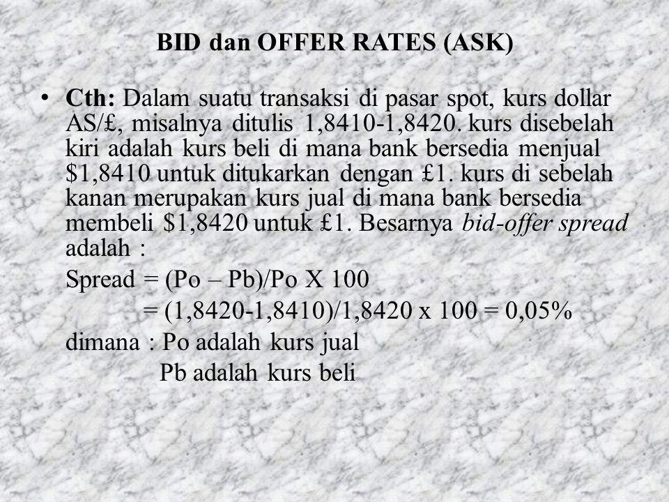 BID dan OFFER RATES (ASK) • Cth: Dalam suatu transaksi di pasar spot, kurs dollar AS/£, misalnya ditulis 1,8410-1,8420. kurs disebelah kiri adalah kur
