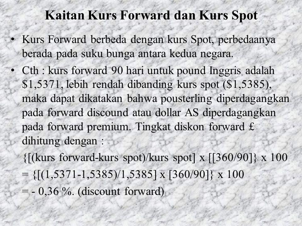 Kaitan Kurs Forward dan Kurs Spot • Kurs Forward berbeda dengan kurs Spot, perbedaanya berada pada suku bunga antara kedua negara. • Cth : kurs forwar
