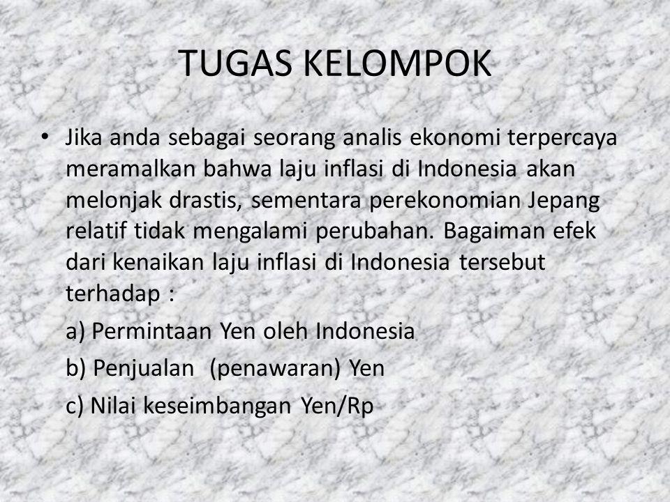 TUGAS KELOMPOK • Jika anda sebagai seorang analis ekonomi terpercaya meramalkan bahwa laju inflasi di Indonesia akan melonjak drastis, sementara perek