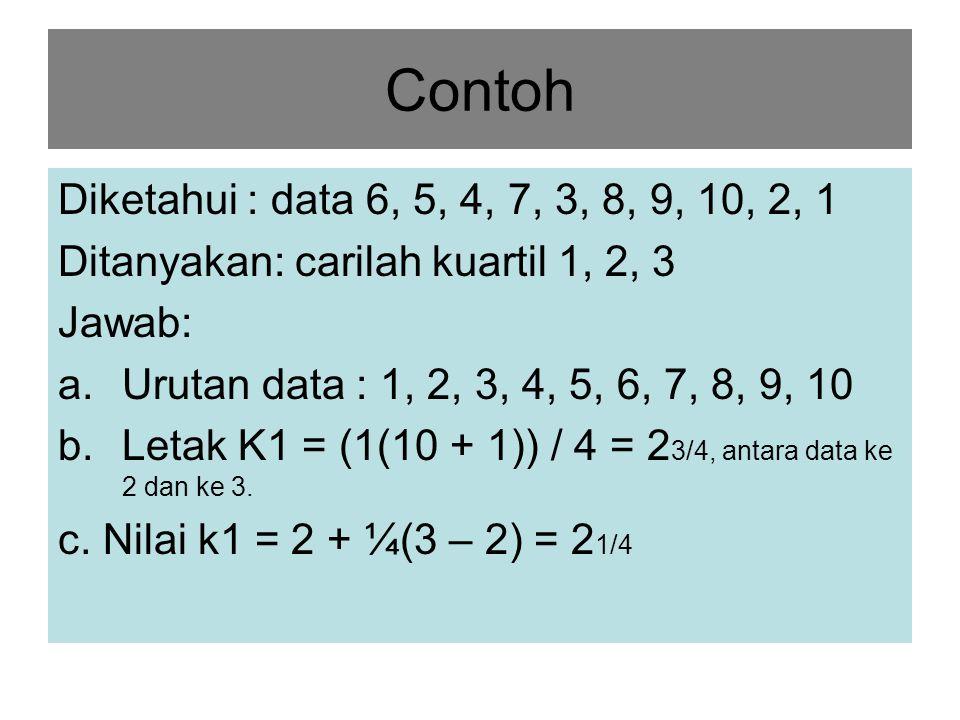 Rumus Kuartil untuk data berkelompok Keterangan: b = batas bawah kelas ki, dimana ki akan terletak p = panjang kelas ki F = jumlah frekuensi dg tanda kelas lebih kecil dari tanga kelas ki f = frekuensi kelas ki