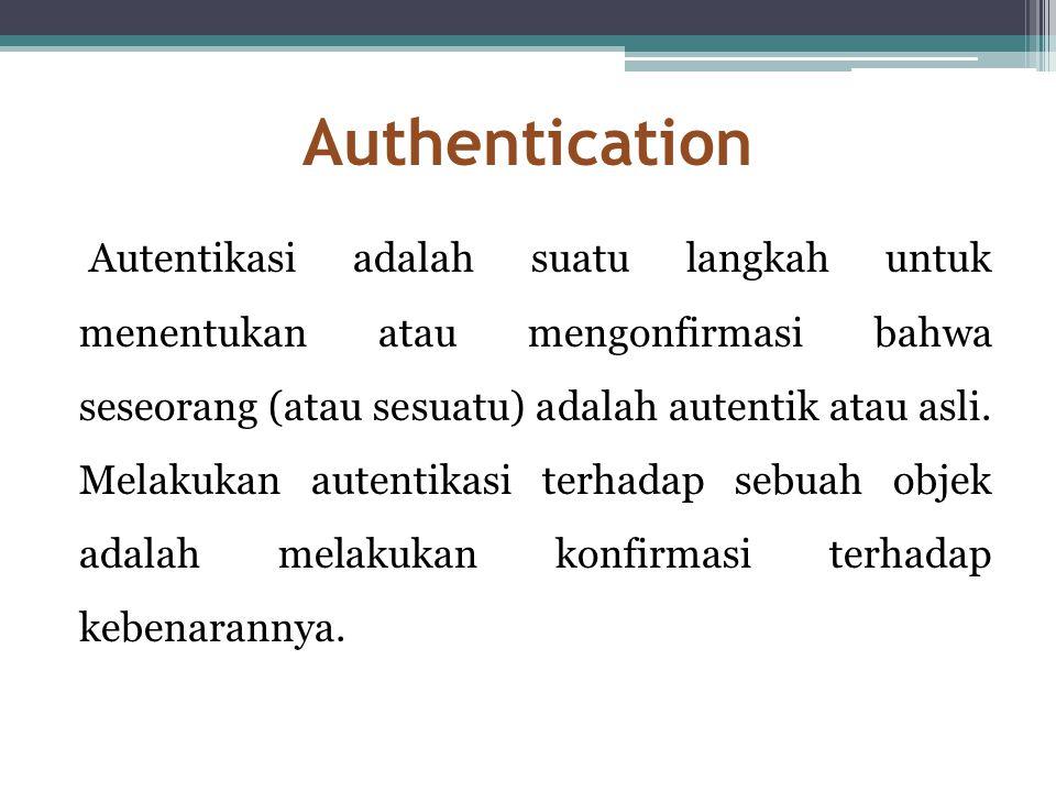 Authentication Autentikasi adalah suatu langkah untuk menentukan atau mengonfirmasi bahwa seseorang (atau sesuatu) adalah autentik atau asli. Melakuka
