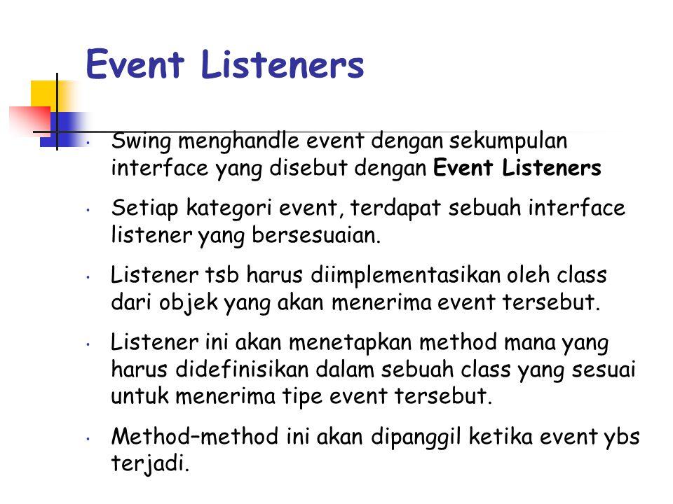 Event Listeners • Swing menghandle event dengan sekumpulan interface yang disebut dengan Event Listeners • Setiap kategori event, terdapat sebuah interface listener yang bersesuaian.
