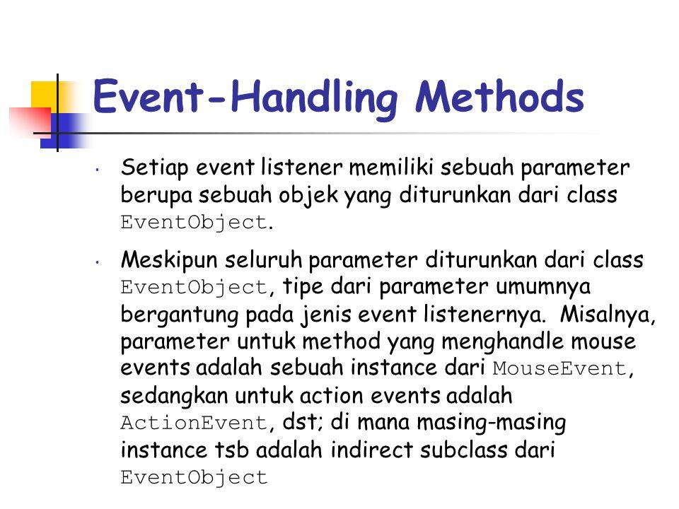 Event-Handling Methods • Setiap event listener memiliki sebuah parameter berupa sebuah objek yang diturunkan dari class EventObject. • Meskipun seluru