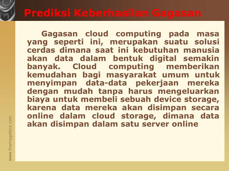 www.themegallery.com Gagasan cloud computing pada masa yang seperti ini, merupakan suatu solusi cerdas dimana saat ini kebutuhan manusia akan data dalam bentuk digital semakin banyak.