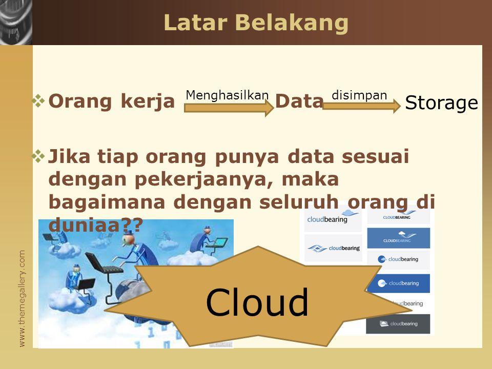 www.themegallery.com Latar Belakang  Orang kerja Data  Jika tiap orang punya data sesuai dengan pekerjaanya, maka bagaimana dengan seluruh orang di duniaa?.
