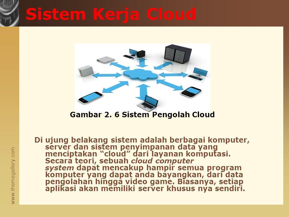 www.themegallery.com Di ujung belakang sistem adalah berbagai komputer, server dan sistem penyimpanan data yang menciptakan cloud dari layanan komputasi.