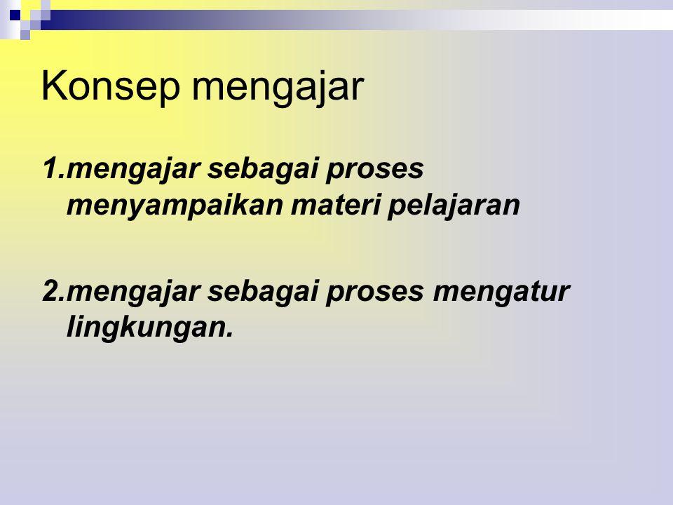 Konsep mengajar 1.mengajar sebagai proses menyampaikan materi pelajaran 2.mengajar sebagai proses mengatur lingkungan.
