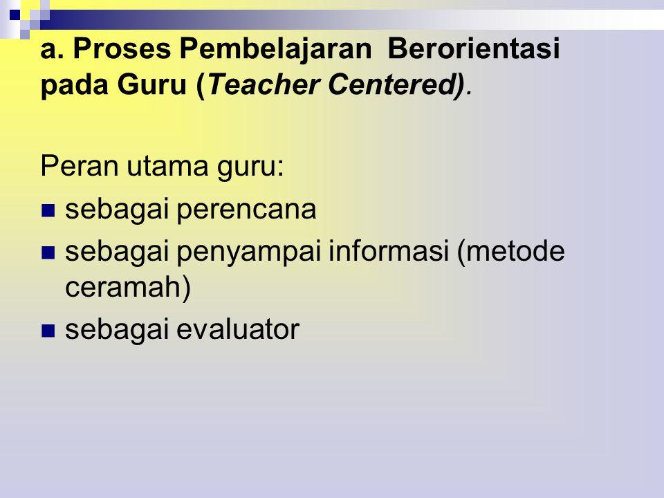 a.Proses Pembelajaran Berorientasi pada Guru (Teacher Centered).