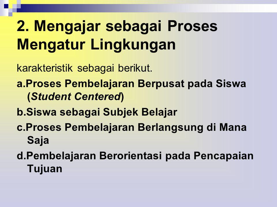 2.Mengajar sebagai Proses Mengatur Lingkungan karakteristik sebagai berikut.